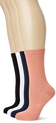 Dim CHAUSSETTE PUR COTON X4 Multicolore (Colorama (Noir/Blanc/Marine/Vœux Rose) 8ld), Taille Fabricant:35/38 (Lot de 4) Femme