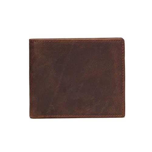 FENICAL Herren Leder Geldbörse Unisex Münze Geldbeutel Tasche Kartenhalter Beutel Kurze Tote (Dark Brownr) -