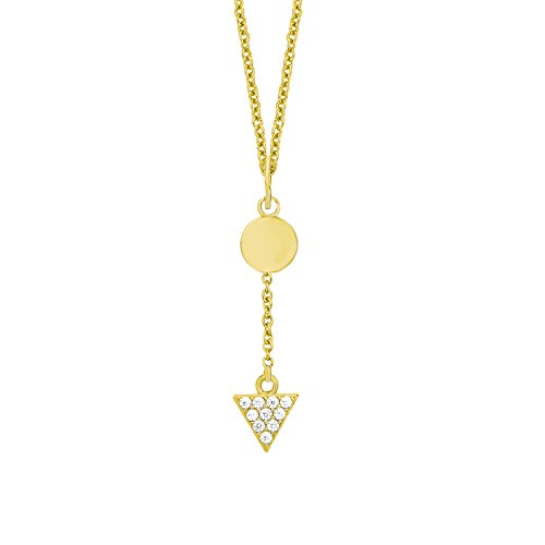 s.Oliver Damen-Kette mit Anhänger Dreieck Kreis Geometrie Silber vergoldet Zirkonia weiß 45 cm-2012660