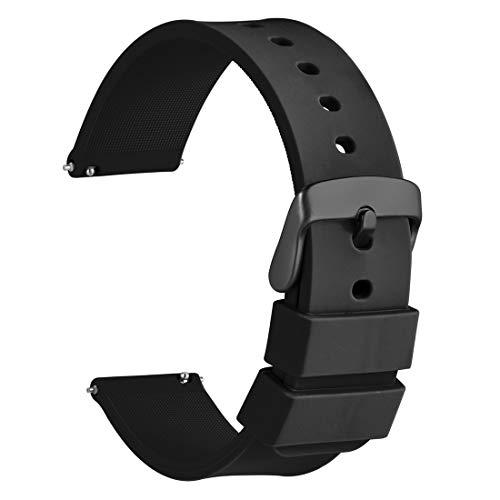 WOCCI Silicona Correa Reloj 20mm Hebilla Negro, Liberación