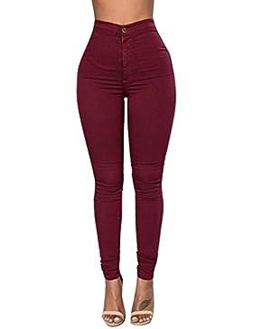 Pantalones para Mujer Jeans - Moda Cómodo Denim Bordado Cintura alta Skinny Leggings Casuales Pantalones Lápiz...