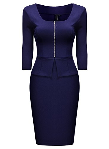 Miusol Vintage Kleid Karree-Ausschnitt 3/4 Arm Cocktailkleid Business Kleid, Blau - 4