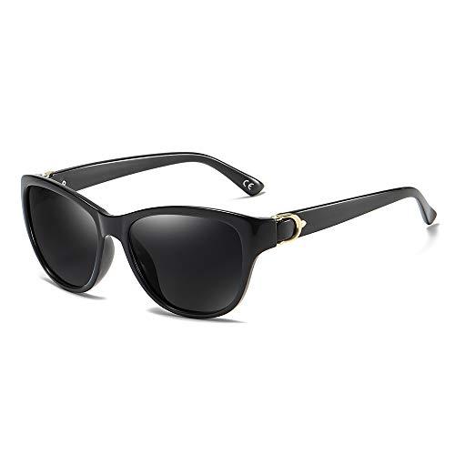 BLEVET Polarisierte Sonnenbrille Mode Design für Damen UV-Strahlen BX007 (Black Frame Grey Lens)
