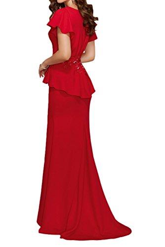 TOSKANA BRAUT Romantisch Neu Damen V-Ausschnitt mit Spitze Applikation Falte Lang Etui Abendkleider Brautjungfernkleider Ballkleider 195163