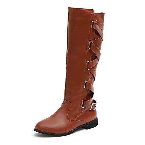 6762840ded9303 Stiefel Damen Schuhe SUNNSEAN Damenstiefel Schnalle Roman Riding Kniehohe  Cowboystiefel Martin Lange.