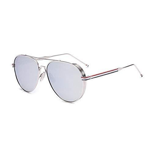 Qiutianchen Polarisierte Sonnenbrille Herren und Damen Runde Retro Polarisierte Sonnenbrille Retro Classic Light Metal Steampunk Frame UV 400@Silberrahmen Quecksilberfolie