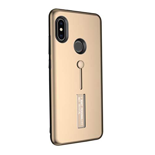 VILLCASE Carcasa del teléfono Soporte de Anillo TPU y PC Carcasa Protectora Resistente a los arañazos y Resistente al Rayado para Xiaomi Redmi Note 5 Pro (Dorado)
