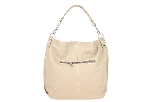 Borse a Spalla Donna Ludy Bag in Vera Pelle, Made in Italy Taupe