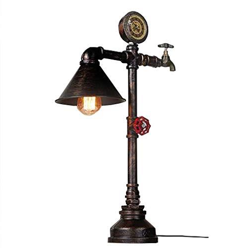 Tischlampe Tischleuchte-Health UK Steampunk Weinlese-Eisen-Wasser-Rohr-Tischlampe American Retro Café Loft Industry Bar Wasserzähler Wasserhahn Dekoration E27 Glühlampe-Schreibtisch-Licht Willkommen -