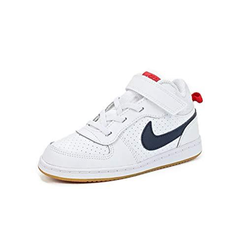 Nike Jungen Court Borough MID (TDV) Gymnastikschuhe, Weiß (White/Obsidian/Univ Red/Gum Lt Brown 107), 25 EU - Obsidian-basketball-schuh