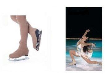 STD SKATES Medias Cubre Botas para Patines de Patinaje Artistico en Microfibra 3D DEN 50 Color Caramelo. Cintura Baja - Figure Skating Over The Boots Tights (4-6, Caramelo)
