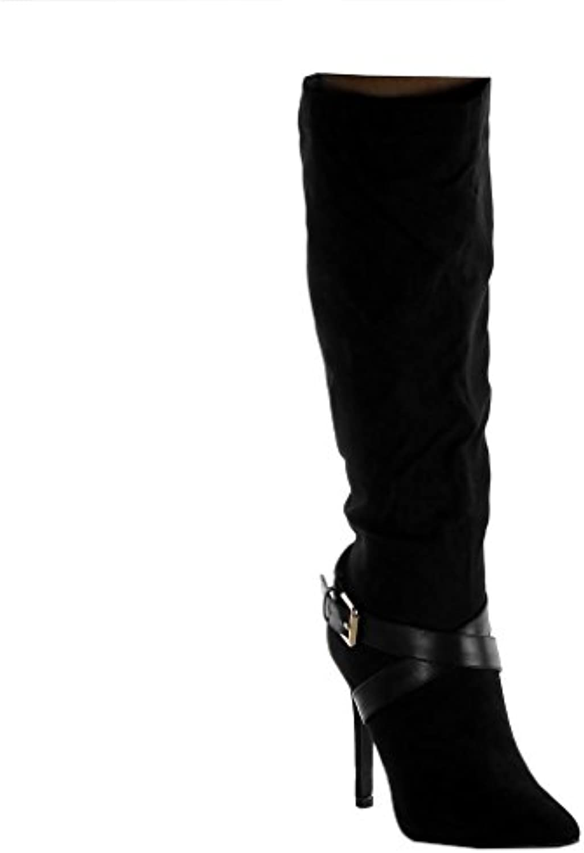 Angkorly Angkorly Angkorly Scarpe Moda Stivali - Scarponi Stiletto Cavalier Flessibile Donna Cinghie Incrociate Fibbia D'oro Tacco... | Gioca al meglio 355d88