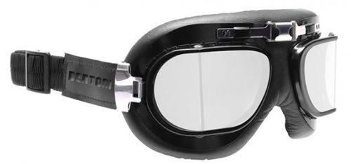 Occhiali Maschera moto in pelle nera con lenti squadarate anni '50 , profilo in acciaio - by Bertoni Italy AF193