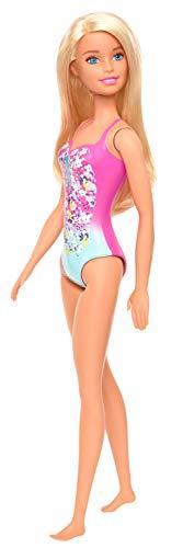 Barbie GHW37 - Beach Puppe mit Badeanzug im Blumenmuster