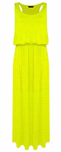 Islander Fashions Damen �rmelloses Baloon Long Toga Maxi Damen Puff Ball Jersey Maxikleid Gelb Medium/Large Maxi Fashion