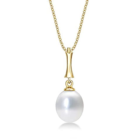 Pearl Drop Pendant Necklace with Single Lustrous 8-8.5mm White Freshwater Pearl set in Luxurious 9K Yellow Gold. Yellow Gold Single Pearl Necklace Yellow Gold with Chain