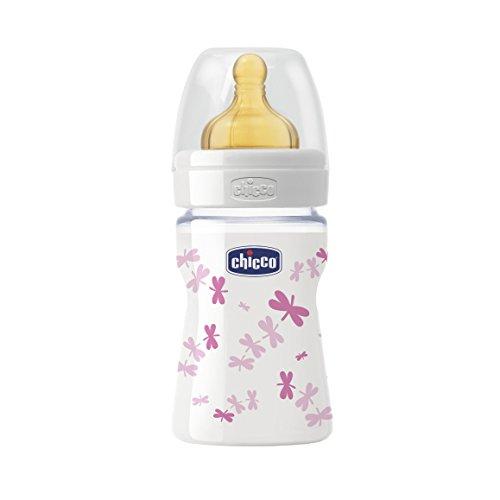 Chicco Wellbeing - Biberón de vidrio con tetina de látex y flujo normal para bebé de 0m+, 150 ml, rosa