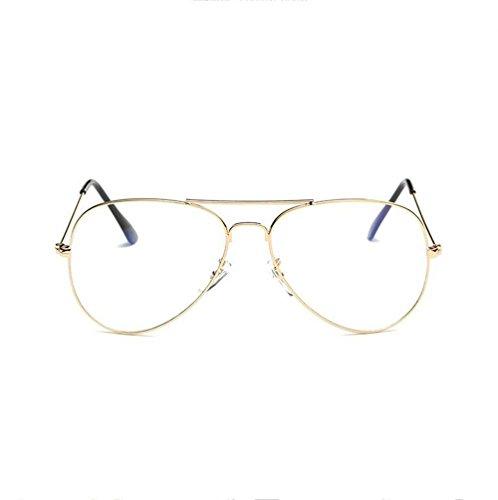 Z&YQ klar Linse Gläser Flieger Spiegel Myopie strahlungsbeständige Schutzbrillen , gold frame transparent film