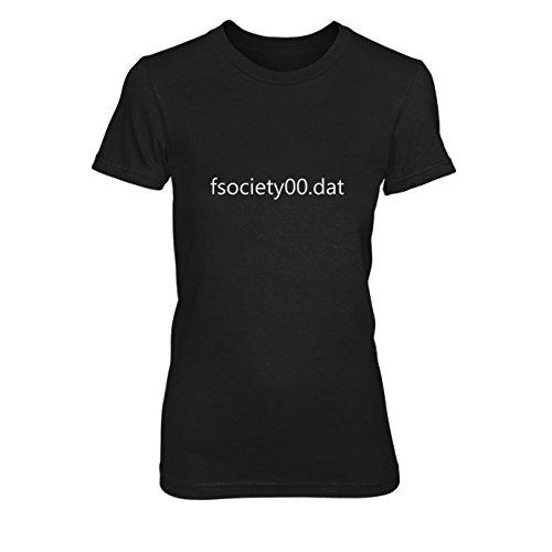 fsociety00.dat - Damen T-Shirt, Größe: M, Farbe: schwarz (Fsociety Kostüm)