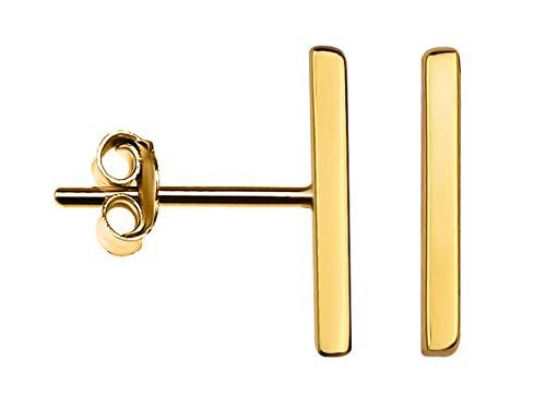 SOFIA MILANI Damen Ohrringe Ohrstecker Stab Schlicht Silber Vergoldet 20574 (Gold Ohrstecker Ohrringe)