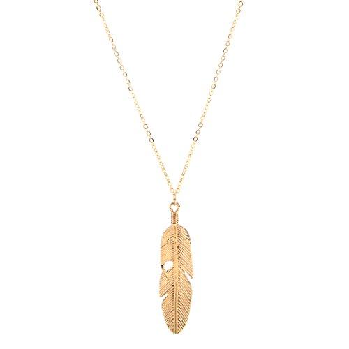 melysEU Damen Halskette Feder Anhänger mit Feder Boho Lange Pullover Kette, Kettenlänge 23.8+2.9inch (Gold)