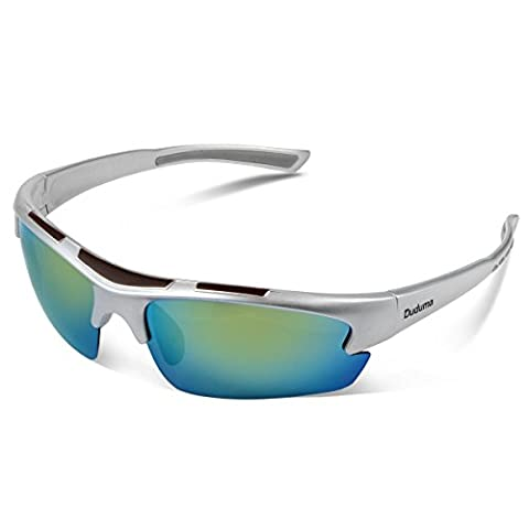 Duduma Polarised Sports Sunglasses for Running Cycling Driving Ski Golf Tr62 Ultra light Frame Design for Mens and Womens (silver frame, gold lens)