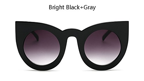 ZHANGYUSEN New Fashion Oversized Round Cat Eye Sunglasses Women Vintage Big Frame Sun Glasses for Female,Bright Black Gray