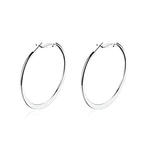 Gnzoe Jewelry 18K Gold Plated Drop Earrings White Gold Big Round Shape Eco Friendly