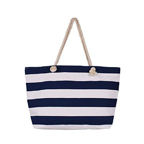 ZHRUI Umhaengetasche Gestreifte Handtasche Leinwand Einkaufstasche mit Grosser Kapazitaet Shopper Handtasche Umweltfreundlich Tragetasche Schultertaschen (Blau)
