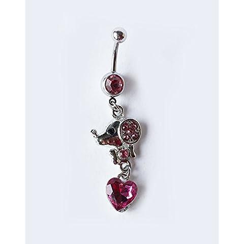 Piercing de ombligo elegante ratón con brillante corazón de cristal ombligo anillo cuerpo joyas en blanco y plata
