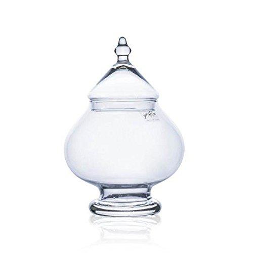 Bonboniere, Dekogefäß TIN mit Deckel, Glas, klar, H. 25cm Ø 17,5cm Sandra Rich