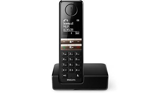 Philips D4601B schnurloses Telefon (4,6 cm Display, HQ-Sound, Mobilteil mit Freisprecheinrichtung) schwarz