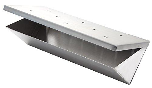 Wood Chip Räucher Box V-FORM aus Edelstahl mit Klappdeckel von Allgrill ® Chip Form