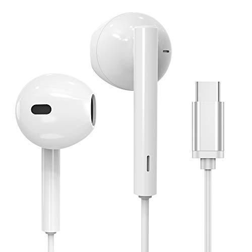 Écouteurs Intra-Auriculaires, Luvfun Ecouteurs USB Type C Basse Stéréo avec Micro Écouteur pour Huawei P10 /P20 Pro / P30 Pro/Mate 10 Pro et Autres Appareils d'interface de Type C Écouteurs - [Blanc]