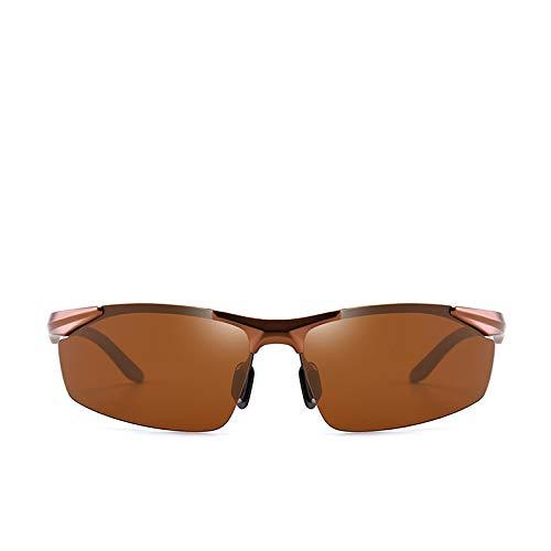kamier Aluminium-Magnesium polarisierte Sonnenbrille Herren-Sonnenbrille mit Halbrahmen. Leichte Sport-Reitbrille. Brauner Farbcode