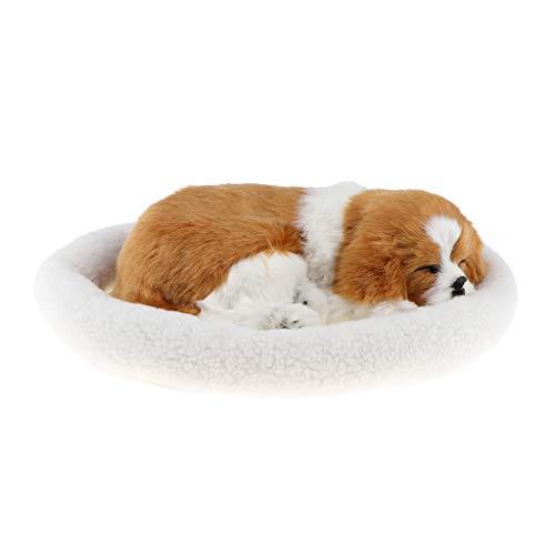 P Prettyia Perro Cachorro Que Respira Muñecas Creativas Regalos de Cumpleaños para Niños Niñas Kawaii - Blanco Amarillo