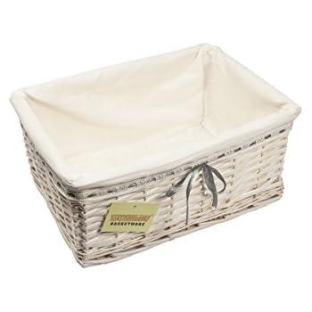1 x medium woodluv rectangular white willow wicker hamper storage basketwith cream linning grey