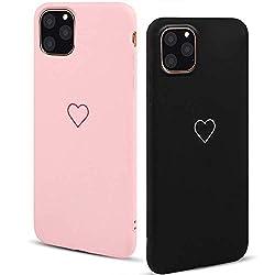 LAPOPNUT 2 Pack Hülle für iPhone 11 Pro Max Cute Love Heart Hülle Matt Soft Silicone Slim TPU Handytasche Flexible Schutzhülle HandyHülle Back Cover Hülle für Apple iPhone 11 Pro Max,Pink&Black