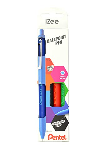 Pentel IZee BX470-4 Ballpoint Pens with Metal Clip 0.5 mm Line Width Black Red Blue Green Set of 4