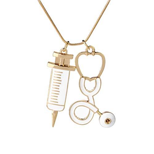 Amosfun Estetoscopio médico y collar colgante de la jeringuilla Collar de la joyería para el doctor Enfermera Regalos del día de la enfermera