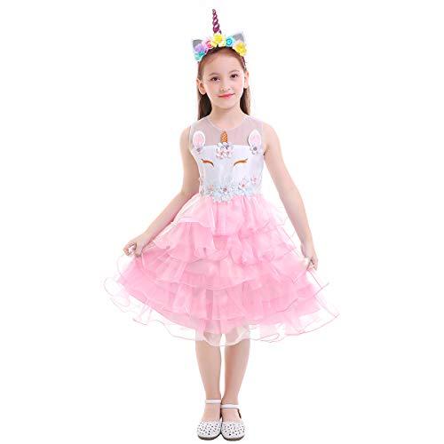 IWEMEK Baby Mädchen Einhorn Geburtstag Rüschen Kleid Halloween Kostüm für Kinder Prinzessin Blumenmädchenkleid Hochzeit Festzug Tutu Weihnachten Karneval Ankleiden Cosplay Pfirsich 7-8 ()