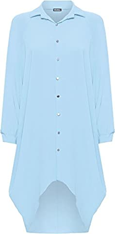 WEARALL® Women's Plus Batwing Shirt Dress Long Sleeve Dip Hem Hi Lo Button Collar Ladies - Light Blue -
