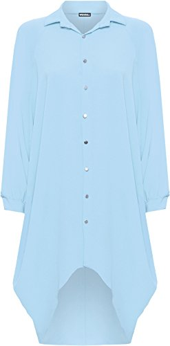 WEARALL Femmes Grande Taille Batwing Chemise Robe Longue Manche Trempette Ourlet Salut Il Bouton Collier Dames - Robes - Femmes - Tailles 44-54 Bleu Clair