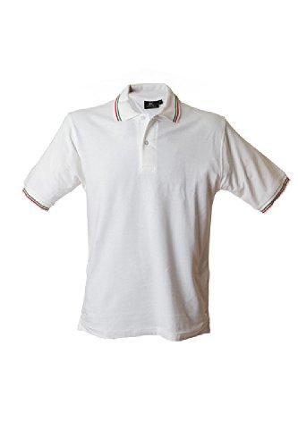 Polo Manica Corta Spacchetti Laterali Rinforzo Italia Tricolore James Ross Aosta Bianco