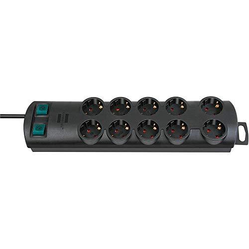 Oferta de Brennenstuhl Primera-Line regleta enchufes con 10 tomas corriente y 2 interruptores individuales (cable de 2 m, interruptor iluminado, montable) negro