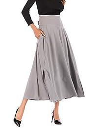 SANFASHION Jupe Femme Longue Plissé Haute Taille Fluide Casual Maxi Belted  Jupe Tissu Doux de Plage bdbb2507f5e4