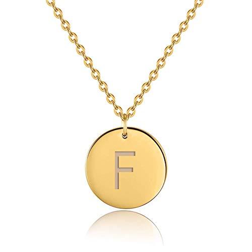 URBANHELDEN - Buchstaben-Kette - Gold Damen-Kette mit deinem Wunschbuchstaben - Wunschgravur Alphabet - Personalisierte Buchstabenkette - Schmuck Gold - Buchstabe F