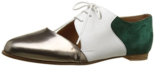 Emma GoCasey - Scarpe Stringate Donna , multicolore (Multicolore (Metal Alu/Calf White/Suede Dark Green)), 40 EU
