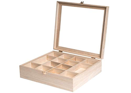 Caja de madera con vitrina de 32 x 32 x 10 cm. y separadores de doble