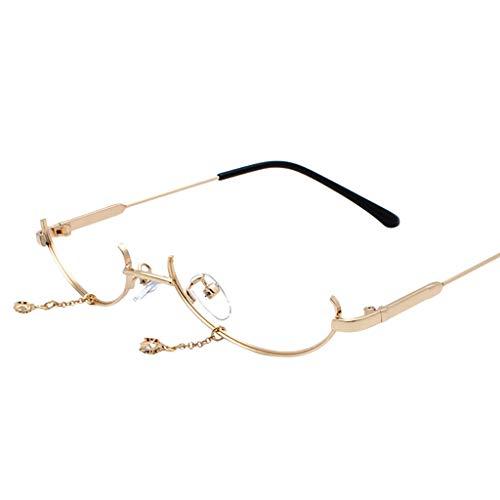 VRTUR Brillengestelle Damen Runde Rahmen Lens Brille Light Gewicht Klassische Brillenfassung Keine Linse Kette Anhänger Dekoration (One size,Gold)